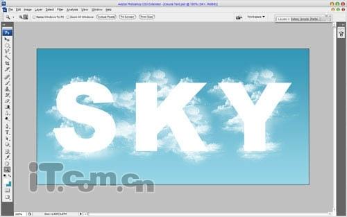 Photoshop制作天空中的云朵文字