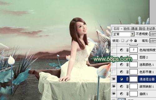 Photoshop调出艺术照片的青绿色调