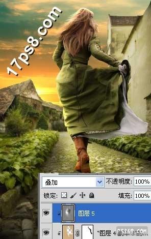PS合成在夕阳小道上奔跑的女子