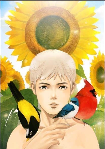 PS鼠绘漂亮的水彩画阳光男孩