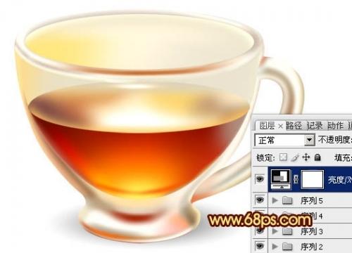 ps制作盛有红色液体的玻璃茶杯效果