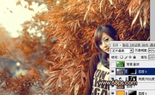 Photoshop调出竹林美女图片甜美的橙红色