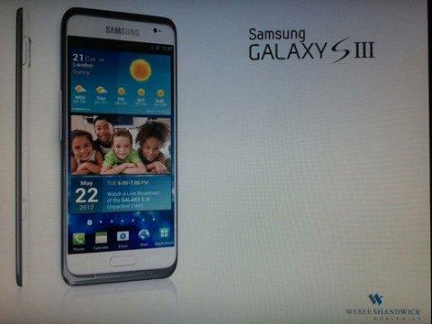 传Android三星新机Galaxy S III敲定5月22日伦敦发布