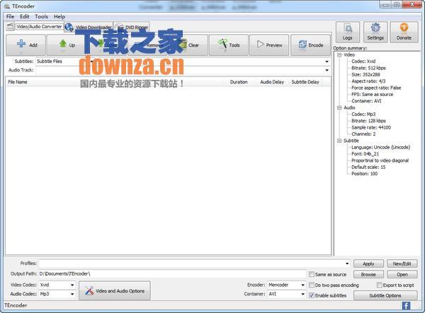多线程视频编码软件(TEncoder)
