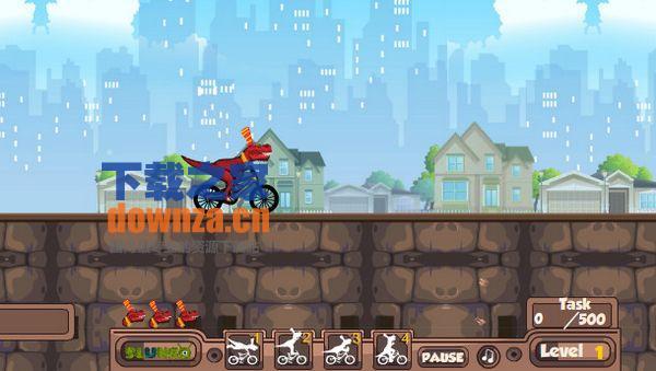 恐龙自行车特技小游戏
