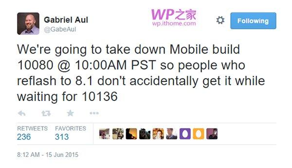 微软:Win10 Mobile预览版10136推送前,已关闭10080更新
