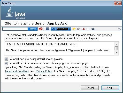 微软:Java安装包中的Ask工具栏为恶意软件