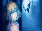 蓝色蝴蝶少女电脑壁纸 1600*900