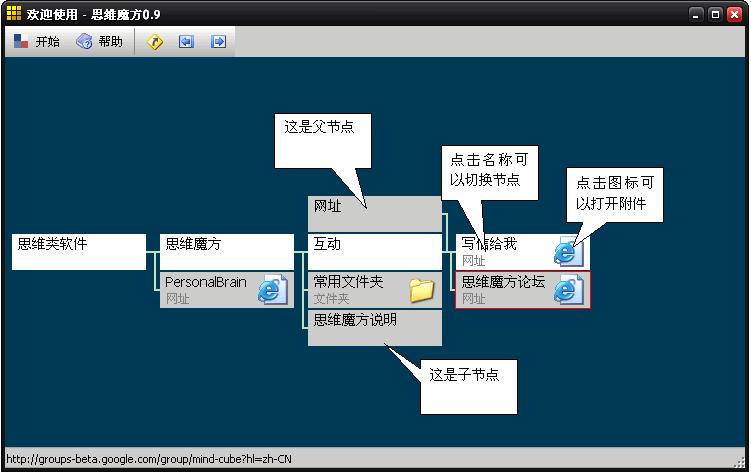 思维魔方 V0.91 绿色版简易思维导图软件思维魔方